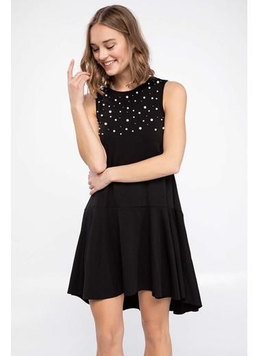 DeFacto İnci Detaylı Elbise Siyah